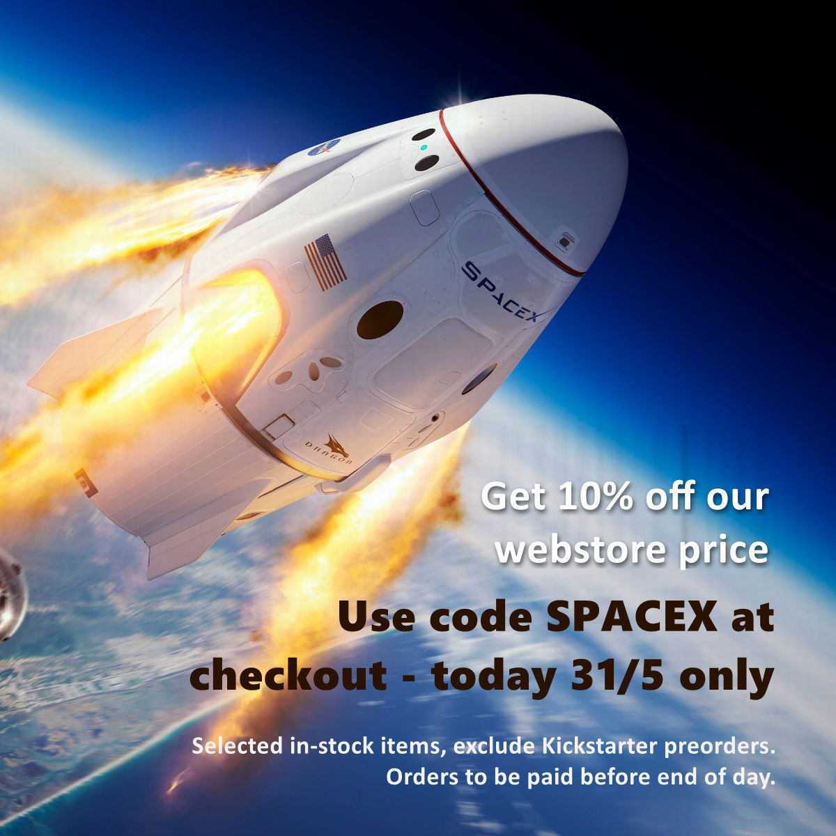 Enjoy 10% off SPACE/MARS titles with the successful SPACEX Launch!